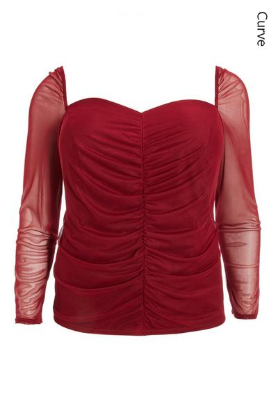 Curve Berry Mesh Ruched Top